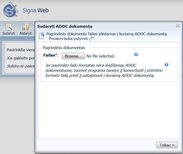 ADOC-dokumento-sukurimas